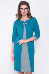 <p>Изысканное платье с контрастной вставкой попереду - отличное решение для создания утонченного образа. Рукав 3/4 с манжетом.</p>
