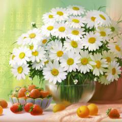 Картина раскраска по номерам 30x40 Натюрморт с ромашками