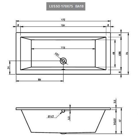 Ванна акриловая Riho Lusso 170X75 BA18 схема