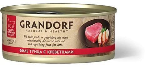 Купить консервы для кошек Грандорф с тунцом и креветками