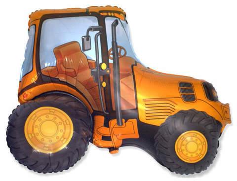 Фольгированный шар Трактор оранжевый