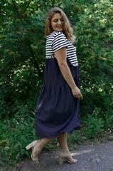 Одесса. Практичное платье для больших размеров. Синий.