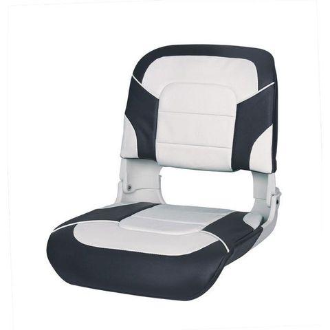 Сиденье пластмассовое складное с подложкой All Weather High Back Seat, бело-черное
