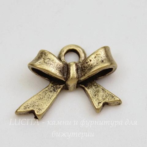 "Подвеска ""Бантик"" 15х12 мм (цвет - античная бронза)"