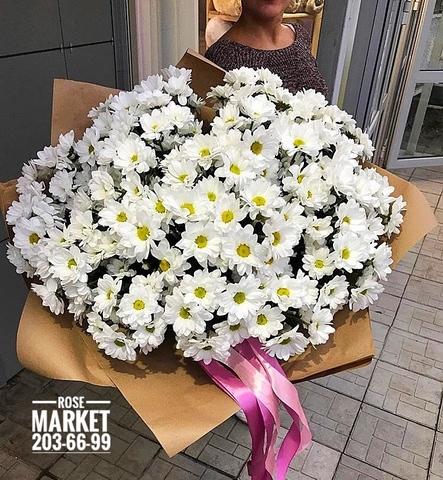 19 кустовых хризантем в крафте #16851