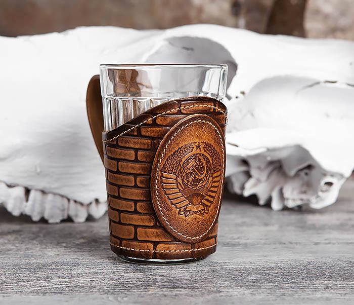 Подстаканник «СССР» из кожи с граненным стаканом