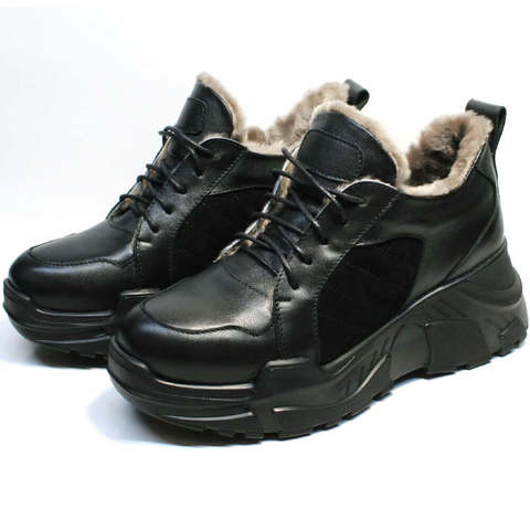 Черные женские кроссовки с мехом. Модные зимние кроссовки на большой подошве Studio 27 All Black