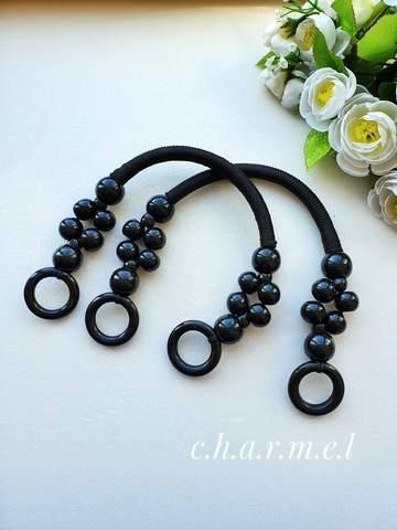 Ручки для сумки  вощеный шнур,дерево (2 шт), 46 см, цвет черный