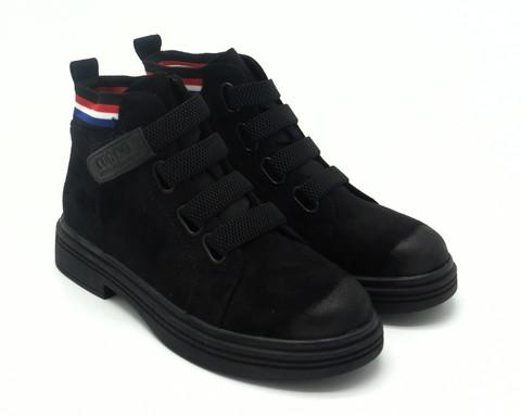 Черные ботинки из нубука на шнуровке-резинка