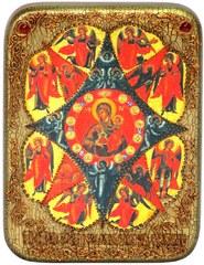 Инкрустированная икона Образ Божией Матери Неопалимая купина 20х15см на натуральном дереве в подарочной коробке