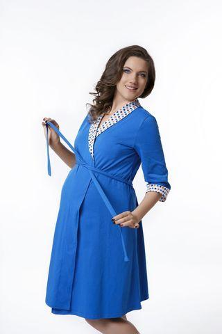 Комплект для беременных и кормящих с халатом и сорочкой 08302 синий