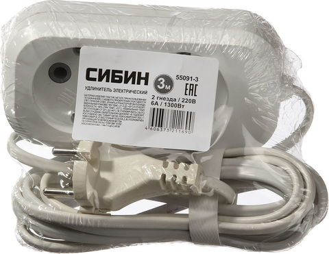 Удлинитель СИБИН электрический, ШВВП сечение 0,75кв мм, 2 гнезда, макс мощн 1300Вт, 3м