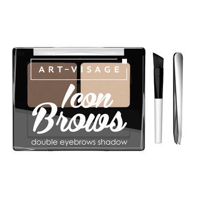 Двойные тени АртВизаж для бровей ICON BROWS с кисточкой и пинцетом 422