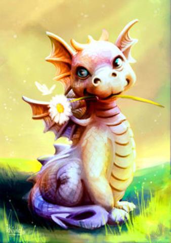 Картина раскраска по номерам 40x50 дракончик с ромашкой