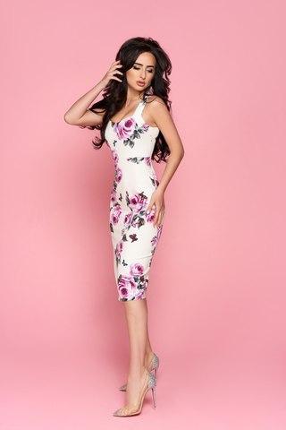 Силуэтное летнее платье миди, с принтом 2