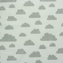 Ткань хлопковая серые облачка на белом