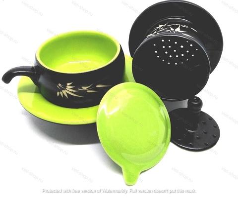 Кофейный набор посуды (пресс-фильтр, чашка, блюдце), зеленый.