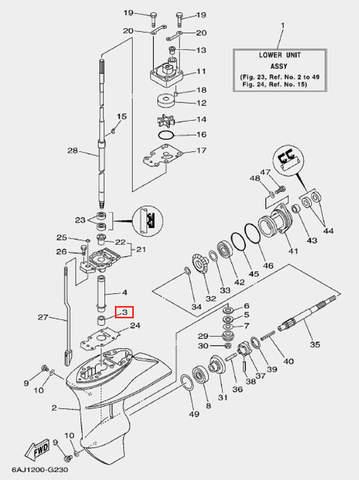 Подшипник игольчатый для лодочного мотора F20 Sea-PRO (23-3)