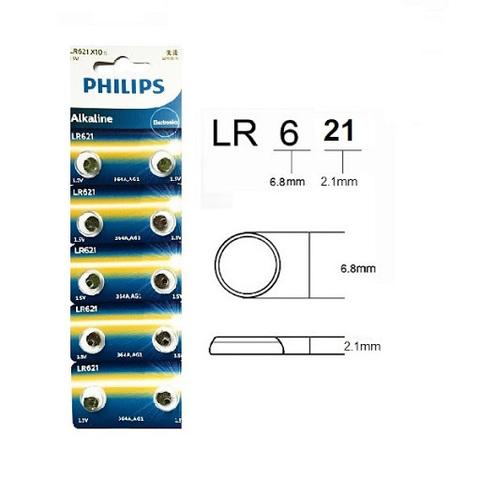 Батарейки часовые Philips LR621 (364, AG 1) 10 BL