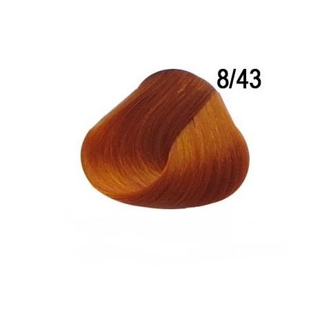 Перманентная крем краска для волос Ollin 8/43 светло русый медно золотистый