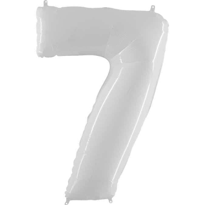 Фольгированная цифра 7, белый