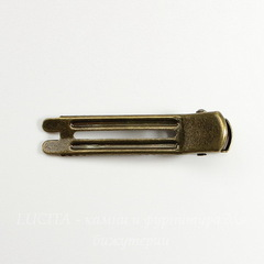Основа для заколки с зажимом, 48х11 мм (цвет - античная бронза)