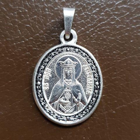 Нательная именная икона святая Ангелина с серебрением кулон с молитвой