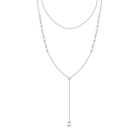 94070126- Двухрядное колье  из серебра с жемчугом