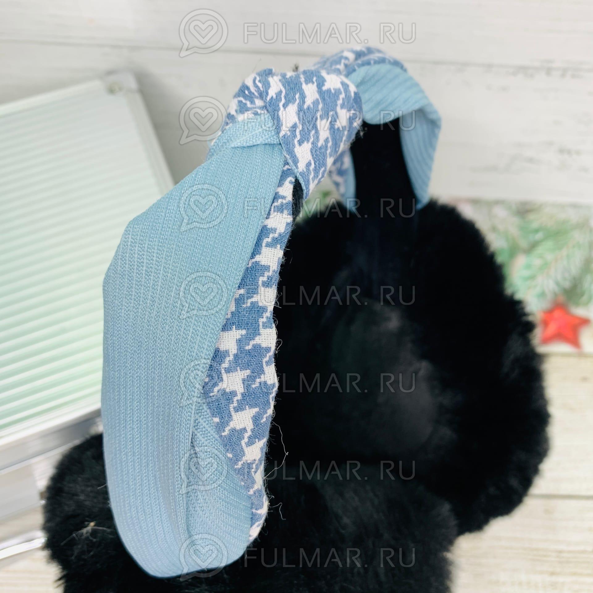 Картинка - Наушники утеплённые складные с ободком-узлом Lolita цвет: Чёрный-Голубой