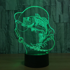 3D светильник Рыба на крючке — 3D light Fish on the hook