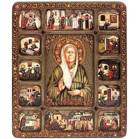 Инкрустированная большая икона Блаженная старица Матрона Московская 37х30см на натуральном дереве в подарочной коробке