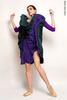 Двусторонняя репетиционная юбка изумрудный-фиолетовый