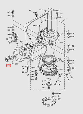 Заглушка ручки стартера для лодочного мотора T40 Sea-PRO (7-22)