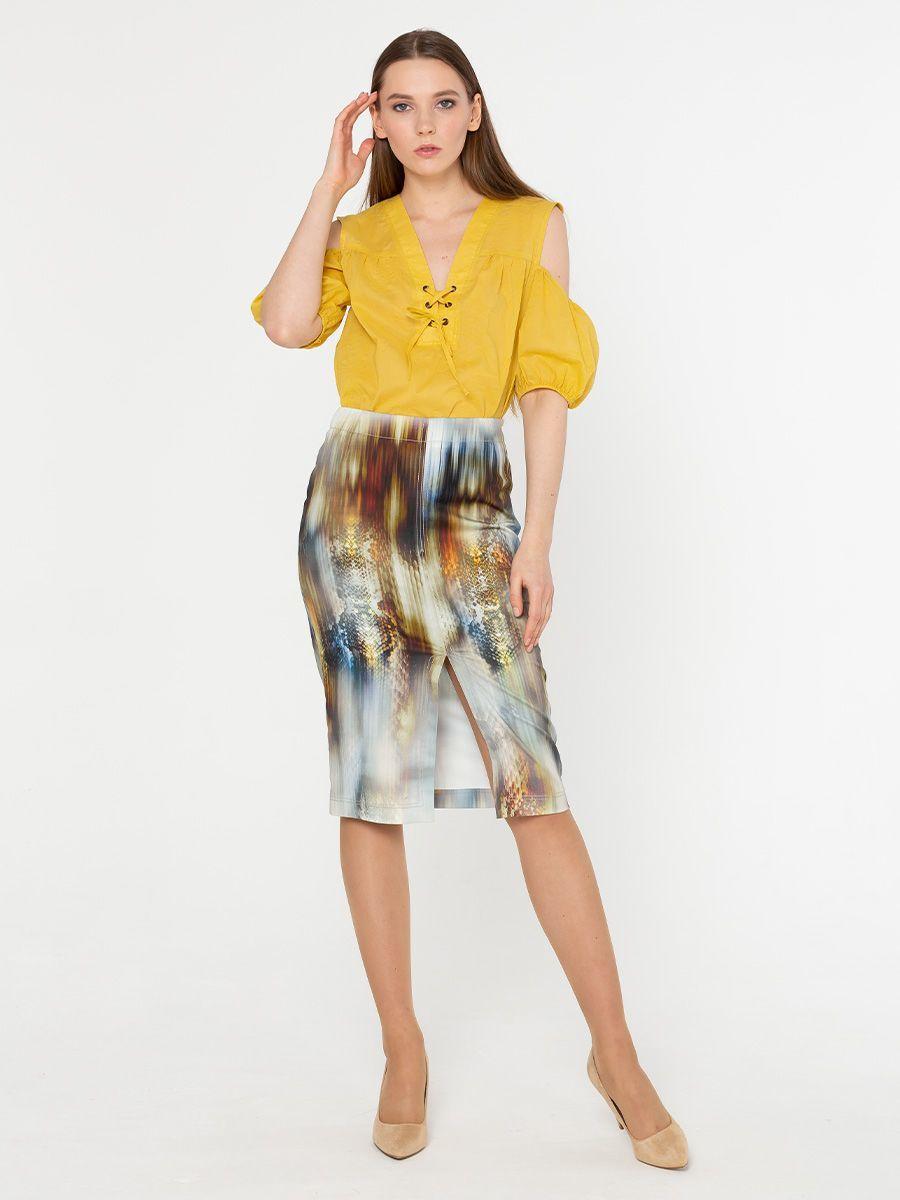 Юбка Б021-729 - Стильная прямая юбка-карандаш модной длины с эффектным разрезом спереди.