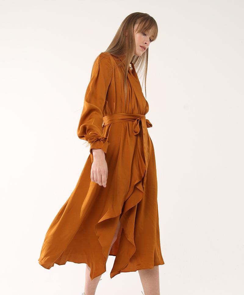 Шелковое платье Freja охра