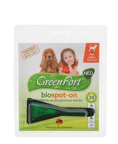 Green Fort neo БиоКапли от блох и клещей для средних собак 1,5мл (10-25кг)(1x60)