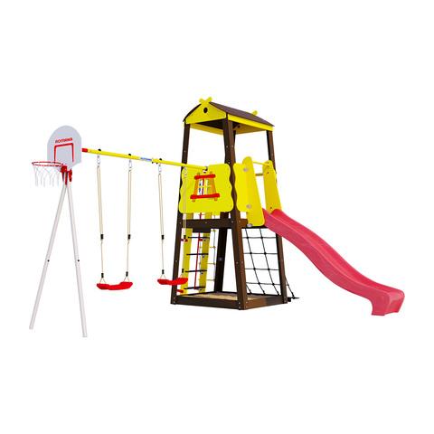 Детский спортивный комплекс для дачи ROMANA Избушка (Пластиковые качели)