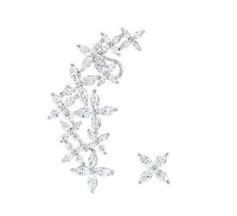Ассиметричный Кафф из серебра с цирконами в стиле APM MONACO