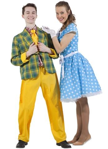 Платье Стиляга голубое в горох 2