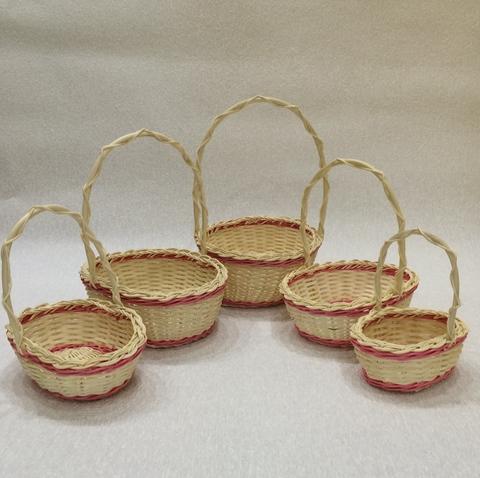Набор плетёных корзин 5 шт. (ротанг), 26х21хH28 см, цвет: натуральный/розовый
