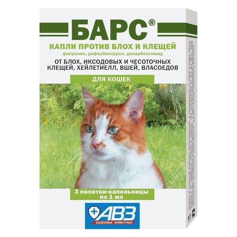 Барс Капли против блох и клещей для кошек, 3 дозы (фипронил, дифлубензурон, дикабоксимид)