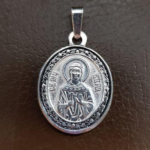Нательная именная икона святая Вера с серебрением кулон с молитвой