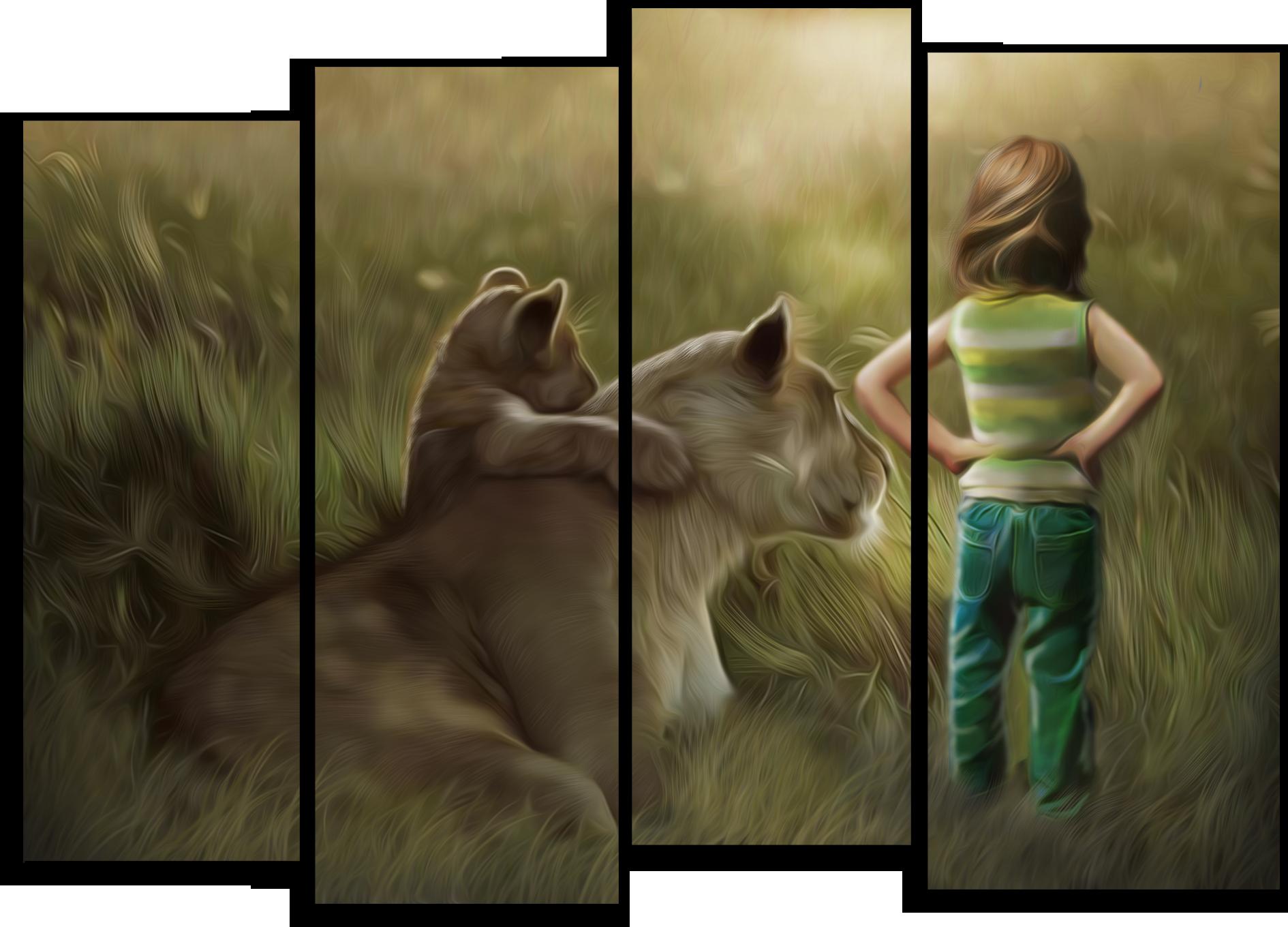 """Животные Модульная картина """"Бесстрашный малыш"""" М505.png"""