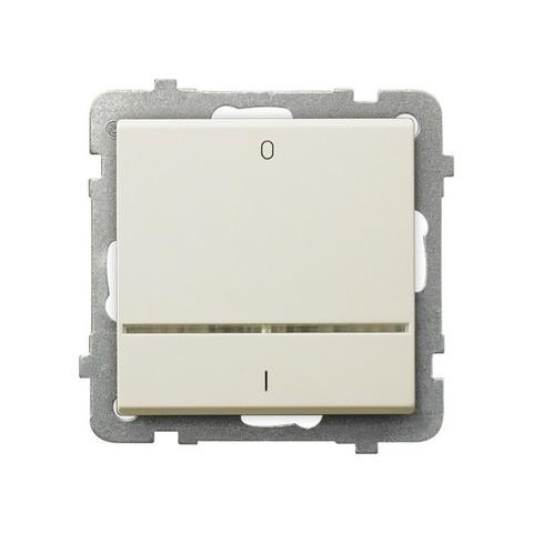 Выключатель одноклавишный 2-полюсный с подсветкой. Цвет Бежевый. Ospel. Sonata. LP-11RS/m/27