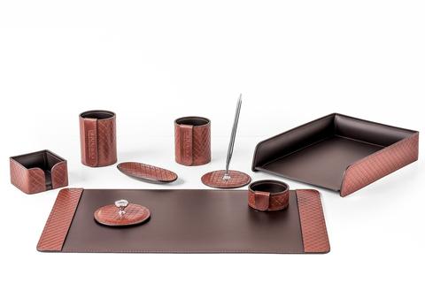 Премиум органайзер из кожи FG Tan treccia/шоколад 9 предметов