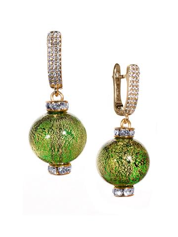 Серьги из муранского стекла со стразами Daniella Ca'D'oro Medio Green Gold 030O