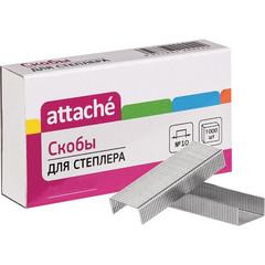 Скобы для степлера №10 Attache никелированные (1000 штук в упаковке)