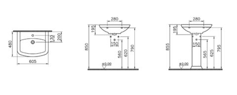 Раковина  Vitra Serenada 60x48 см,  4167B003-0001 схема