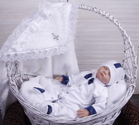 Набор для мальчика крестины Корсар Бантик (белый)