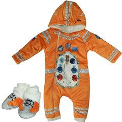 Папитто. Утепленный комбинезон и пинетки Космонавт, оранжевый вид 1